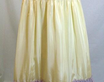 ROCKABILLY VINTAGE Slipper SATIN/Tafetta~Full Length Skirt PettiCoat Slip~Party Peasant GyspY Bo-Ho Victorian Retro~Over Lace Ruffle