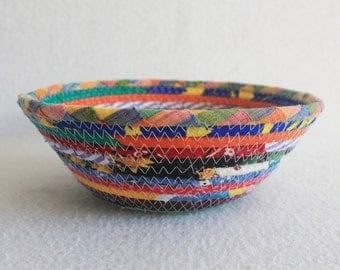 Coiled Fabric Bowl / Coiled Basket Colorful Carnival Small Round Bowl by PrairieThreads