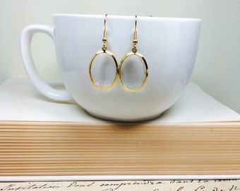 Sparkly Oval Dangle Earrings, Channel Set Crystal Earrings on Gold, Lightweight Drops, Clear Plastic Acrylic Earrings, Winter Jewelry