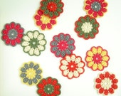 Six Retro Crochet Flower Coasters in red, khaki and off-white or in magenta, yellow and grey