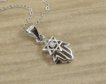 Star of David Hamsa Necklace, Sterling Silver Hamsa with Jewish Star Charm on a Silver Cable Chain