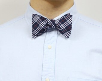 Nick - Navy/Red Plaid Men's Pre-Tied Bow Tie or Self-Tied Bow Tie