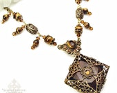 Vintage Smokey Topaz an Tiger Eye Filigree Necklace-Victorian Gothic Jewelry, Statement Necklace