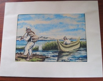 Peruvian Watercolor Seascape Painting, Peruvian Flute Player