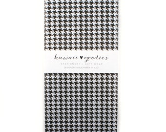 24 sheets of Tissue Paper - Houndstooth traditional black & white - 15 x 20 inch 100% recycled tissue - Packaging and Gift Wrapping