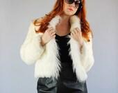 Vintage 1980s Glam Cream Rabbit Fur Curly Lamb Coat // Penny Lane // Hippie Fur Coat