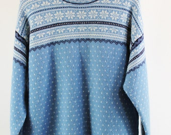 Womens Lands End Nordic Wool Blue White Woodland Wool Sweater. FREE SHIPPING