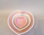 Heart Bowls -- Set of 3, Nesting, Handmade, Shades of Pink - 4.25 in. - Valentine - #6 --  Ready to Ship