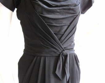 """1950s Ceil Chapman Black Sculpted Dress 26 1/2"""" Waist"""