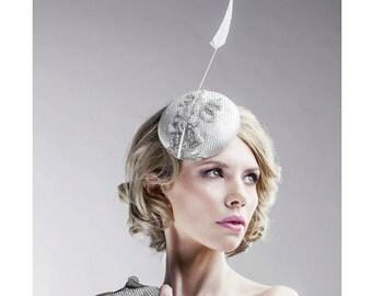 Silver Grey Headpiece Medium Size Straw Pillbox Hat Women's Accessories Hat Set - Matching Fascinator & Bag Set - Kentucky Derby