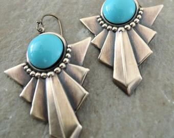 Turquoise Earrings - Art Deco Earrings - Chloe Vintage Brass Jewelry - Bohemian Earrings - handmade jewelry