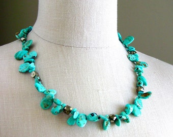 Baja Turquoise and Pyrite Necklace Natural Jewelry