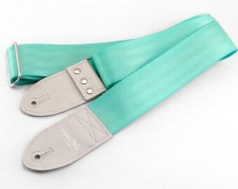 The Recycled Mint Aqua Seatbelt Guitar Strap