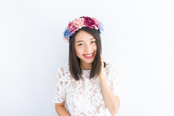 pastel rose crown, floral hair wreath headband - statement headpiece, festival crown, halo, vintage inspired, 'santa monica'