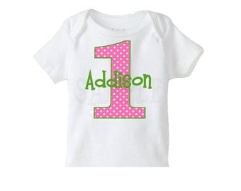 Polka Dot  Number Birthday Shirt , Girls 1st Birthday Shirt or Bodysuit