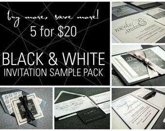 Black and White Invitation Samples, Black Tie Wedding Invitations, Elegant Invitations, Cocktail Party, Corporate Event - SAMPLE SET OF 5