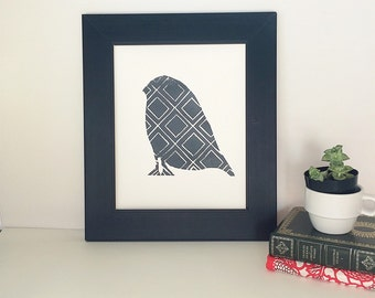 Hand pulled midcentury style bird Linocut Art Print  8x10 in grey