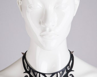 Leather bib necklace Cut out black leather filigree collar Edgy fashion statement leather spiky necklace Burning man Tribal tattoo jewelry