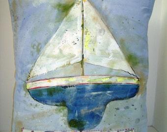 A Sailing...Hand Painted Pillow Summer Decor Beach House Antique Look Art Pillow Accent 17X20 Sailing