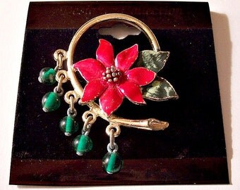 Red Flower Pin Brooch Gold Tone Vintage Green Leaves Beads Ring Circle