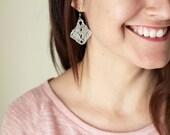 Metallic Silver Crochet Earrings , Diamond Shape Cotton Earrings, Bohemian Jewelry, Boho Earrings, hand-crocheted gift for women triangle