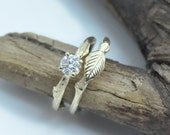 Leaf bridal set, Moissanite twig engagement ring, organic ring
