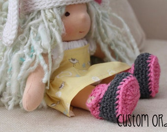 CUSTOM Mary Jane Crochet Waldorf Doll Shoes - Bamboletta shoes