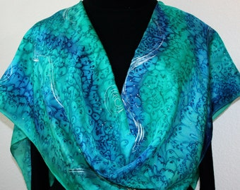 Silk Scarf Hand Painted Blue Green Teal Hand Dyed Silk Shawl CARIBBEAN REEF Size Large 14x70 Anniversary Gift Scarf. Gift Wrapped Silk Scarf