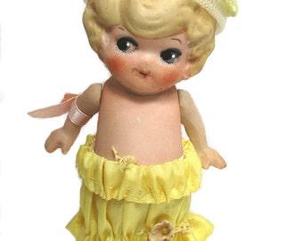 Flapper Googly Eyed Kewpie Bisque Doll Yellow Dress Hat, Vintage Frozen Charlotte