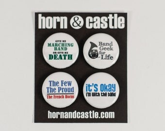 French Horn Marching Band One Inch Size Pinback Buttons or Magnets - HRN 1