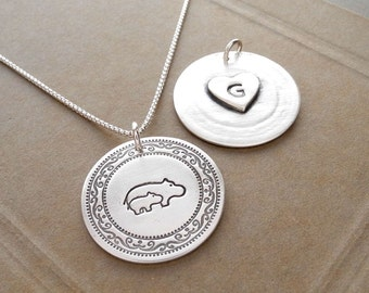 Personalized Hippo Mother and Baby Necklace, Heart Monogram, New Mom Necklace, Fine Silver, Sterling Silver Chain, Made To Order