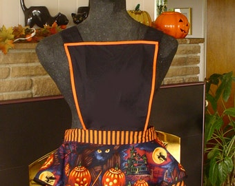 Bibbed Halloween Retro Style Apron with Haunted Houses, Black Cat  & JOLs  on Orange Stripes