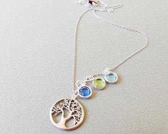 Family Tree Birthstone Necklace.sterling silver chain.Personalized Jewelry  mom Gift Grandmother gift child birthstoneFamily Tree  Necklace