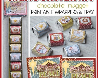 NATIVITY Manger Nugget Wrappers, Christmas Favor or Treat, Christmas Candy Wrapper, Stocking Stuffer, FULL Set - Printable Instant Download
