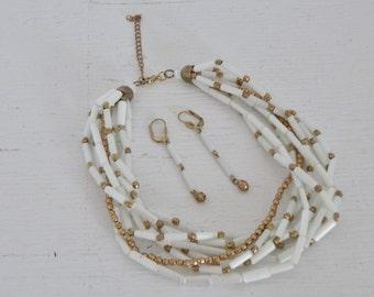 Vintage White Gold Tone Choker Necklace Earrings Seven Strand Glass Bead Drop Earrings Costume Jewelry GallivantsVintage