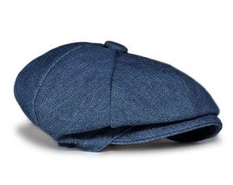 Blue Denim Baby Hat , Birthday Hat, Ring Bearer, Christening, Newsboy Hat, Infant, Handmade by pink2blue.