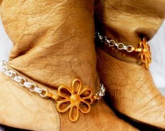 Vintage Flower Boot Chains Silver Boot Jewelry Biker Boot Bracelets Foot Jewelry