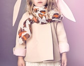 Luxe Bunny Coat// Girls Bunny Coat in Champagne and Pink// Handmade Wool Bunny Coat