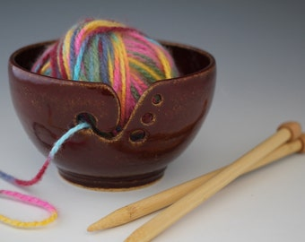 Made To Order-Red Brown  Yarn Bowl