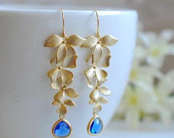 Cobalt Blue Crystal Matte Gold Cascading Orchids Flower Long Dangle Earrings Sapphire Blue Bridal Earrings Cobalt Blue Wedding Jewelry