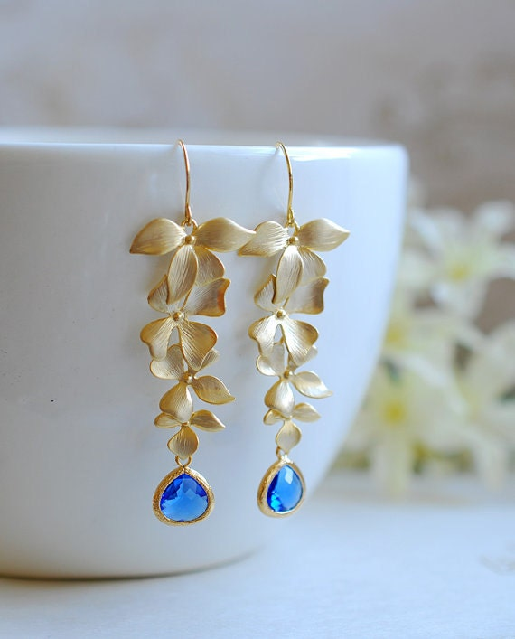 Cobalt Blue Crystal Matte Gold Cascading Orchids Flower Long Dangle Earrings Sapphire Blue Bridal Earrings Cobalt Blue Wedding Jewelry