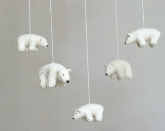 nursery mobile, baby mobile, Polar bear mobile, white mobile, made to order