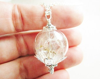 Dandelion Seed Glass Orb Terrarium Necklace Small Orb In Silver, Bridesmaids Gifts, Nostalgic Keepsake