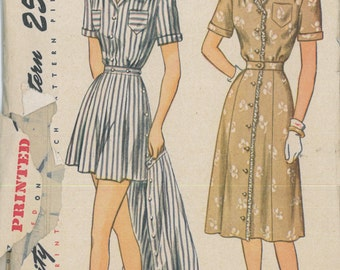 2013 1940's Pin Up Play Suit and Skirt Vintage Sewing Pattern Simplicity 2013 Bust 35