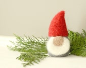 Needle Felted Gnome, christmas decor figurine grey red white elf tomten holiday eco friendly