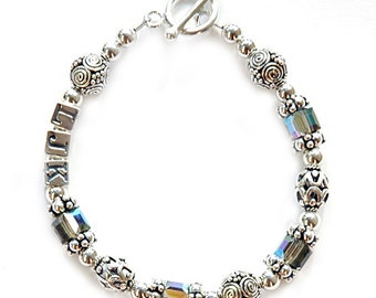 Black Diamond Initial Bracelet