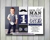 Navy Little Man Invitation, Bowtie Mustach Invite, 1st Birthday, Digital Printable