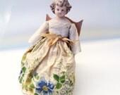 Vintage Porcelain Doll Wood Rocking Chair Handmade Hanky Dress Eyelet Blouse