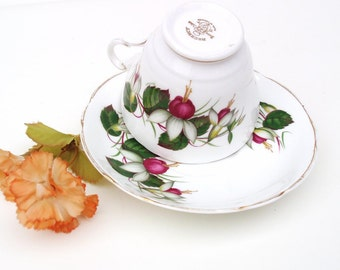 Vintage Bone China Tea Cup | Tea Cup and Saucer | Teacup Set | English China Coffee Cup | Fuchsia Floral