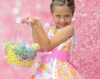 1 Left Girls Spring/Easter Open Back Dress   Children 2T, 3T, 4T, 5, 6, 7, 8